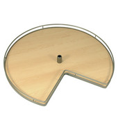 28'' Diameter Revolving Kidney Corner Lazy Susan - 2 Arena Plus Non-Slip Tray Set, Champagne/Maple