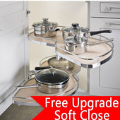 ''LeMans'' Kitchen Blind Base Corner Organizer, Right Swing Trays, Adjustable Post, Available in Multiple Finishes & Sizes