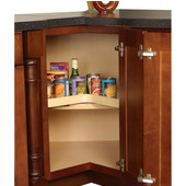 Shelf Mounted Revolving Kidney Corner Lazy Susan - Maple Wood, 24'' - 32'' Diameters Available