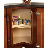 Shelf Mounted Revolving Kidney Corner Lazy Susan - Maple Wood, 24'' - 32'' Diameters Available