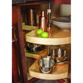 Kidney Shape Maple 2-Shelf Lazy Susan with Mounting Pole, 24'' - 32'' Diameters Available