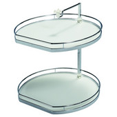 19-3/4'' Diameter ''Twister'' Lazy Susan with 3 D-Shaped Shelves, 38''- 42 1/4'' H, Chrome/White