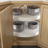 2 Shelf Revolving Full Corner Lazy Susan in White, 18'' - 32'' Diameters Available