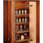 Kessebohmer Spice Rack for Mounting on Cabinet Door or Inside on Cabinet Side, Champagne or Silver Finish