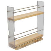 Individual Pull-Out Spice Rack, Birch and Stainless Steel, 2-3/8'' W x 10-3/4'' D x 10-3/4'' H