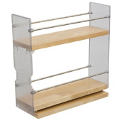 Individual Pull-Out Spice Rack, Birch and Stainless Steel, 3-1/4'' W x 10-3/4'' D x 10-3/4'' H