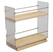 Individual Pull-Out Spice Rack, Birch and Stainless Steel, 4'' W x 10-3/4'' D x 10-3/4'' H