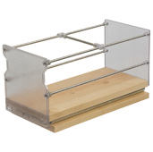 Individual Pull-Out Spice Rack, Birch and Stainless Steel, 5'' W x 5-3/4'' D x 5-3/4'' H