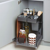 Kitchen Tower 450 Base Unit Soft Close Pull-Out, Anthracite, Steel/Plastic, 16-1/4''W, for 18'' Frameless Cabinets
