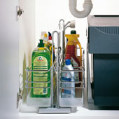 Kitchen or Bath Sink Caddy with Two Baskets (1 Removable), Polished Chrome, Min Cab Opening: 10-3/16'' W x 19-1/2'' D x 15-9/16'' H