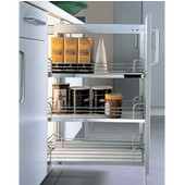 Base Cabinet Full Extension Pull-out Frame w/ Soft & Silent Automatic Closing, Silver, Left or Right Access in Different Sizes, Min Cab Opening: 4-3/8'' W x 19-1/8'' D x 23-5/8'' H