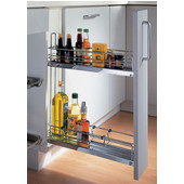 Chrome 2-Tier Kitchen or Bath 2-Tier Base Cabinet Pull-Out Organizer w/ Dampening Function, Min Cab Opening: 4-1/2'' W x 19'' D x 21-1/4'' H