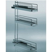 Chrome 3-Tier Kitchen or Vanity Base Cabinet Pull-Out Organizer w/ Dampening Function, Min Cab Opening: 4-1/2'' W x 19'' D x 29-3/4'' H
