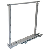 Kessebohmer Soft & Silent Base Pullout II, 20''- 28'' H, Short Frame Set, Full Extension, Soft-Close, 60 lbs Load Bearing Capacity, 4 Tray Position, Silver