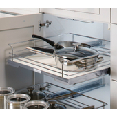 Individual Cabinet Drawer Pull-Out, Chrome/White or Chrome/Maple Available in Multiple Sizes, *Door Not Included