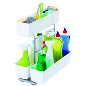Base Pull-Out Cleaning Caddy, White, 10-3/16''W x 18-5/8''D x 18-9/16''H, Min Cab Opening: 10-1/2''W x 18-5/8''D x 19''H