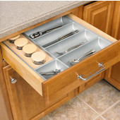 Cutlery Tray Insert For Cabinet Width (Face Frame) 15'' - 42'' Widths Available, Silver Gray Textured