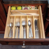 Wooden Cutlery Tray Drawer Insert, 15-1/4'' - 23-1/2'' Widths Available