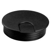 Round Cable Grommet, 2-piece, with 90 Degree Rotating Top, Plastic, Black, 2-3/8'' Hole