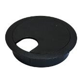Cable Grommet, Two-Piece, Plastic, Black, 2-1/2'' Radius