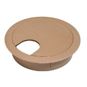 Cable Grommet, Two-Piece, Plastic, Candlelight, 2-1/2'' Radius