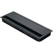 Grommet, Rectangular, 12-3/5''W x 4-1/3''D (320mm x 110mm), w/ Lid And Brush, Aluminum, Black