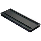 Grommet, Rectangular, 12-3/5''W x 4-1/3''D (320mm x 110mm), Double-Sided w/ Lid And Brush, Aluminum, Black