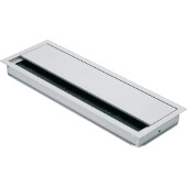 Grommet, Rectangular, 9-7/16''W x 4-3/4''D (240mm x 120mm), w/ Lid And Brush, Aluminum, Silver