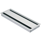 Grommet, Rectangular, 12-3/5''W x 4-1/3''D (320mm x 110mm), Double-Sided w/ Lid And Brush, Aluminum, Silver