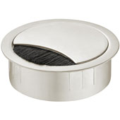 Metal Cable Grommet, Round, Two-piece, with brush, White, 2-3/8'' Hole, 7/8'' Height