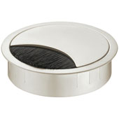 Metal Cable Grommet, Round, Two-piece, with brush, Stainless Steel look, 3-1/8'' Hole, 7/8'' Height