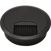 Round Cable Grommet, 2-piece, with Brush, Plastic, Black, 3-1/8'' Hole