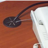 Flexi-Top Cable Grommet, Plastic, Black, 2-3/8'' Hole