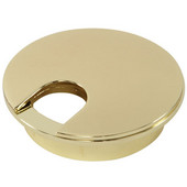 Metal Round Cable Grommet, 2-piece, Zinc, Polished Brass, 2-3/8'' Hole, 13/16'' x 1-1/8'' Opening