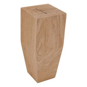 Square Wood Leg, 2 Sided Taper, Oak, 2-1/2''W x 2-1/2''D x 6''H