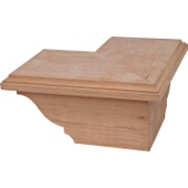 Traditional Cabinet Corner Foot, Cherry, 8-1/2''W x 8-1/2''D x 3-15/16''H