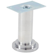 Furniture Foot With Steel Mounting Plate, Polished Aluminum, 105mm H (4-1/8'')
