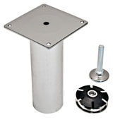 Garage Foot, with Leveler, 2'' Dia. x 12''H, Brushed Steel