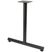 T-Leg Style Side Base, with Glides, for 30''D Tops, Black, Steel, 2 Pcs.