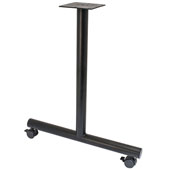 T-Leg Style Side Base, with Casters, for 30''D Tops, Black, Steel, 2 Pcs.