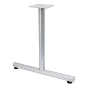 T-Leg Style Side Base, with Glides, for 30''D Tops, Silver, Steel, 2 Pcs.