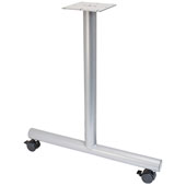 T-Leg Style Side Base, with Casters, for 30''D Tops, Silver, Steel, 2 Pcs.