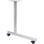C-Leg Style Side Base, with Casters, for 24''D Tops, Silver, Steel, 2 Pcs.