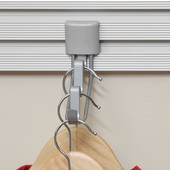 Steel Valet Hook for Storing Clothes on Hangers, Matt Aluminum Finish, Used with Wall Track