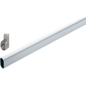 Oval Wardrobe Tube, with Supports, Aluminum, Matt Aluminum, 1.3mm thick, Different Lengths Available