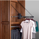 Standard Electric Wardrobe Lift, 110V, 25'' - 27'', 60 lbs. Weight Capacity, Steel, Chrome-Plated Arm, White Plastic Housing
