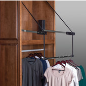 Extended Electric Wardrobe Lift, 110V, 25'' - 27'', 45 lbs. Weight Capacity, Steel, Chrome-Plated Arm, White Plastic Housing