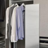 Elite Closet Pull-Out Mirror, Matt Alumninum Frame, 13-1/8''W x 1-5/16''D x 35''H