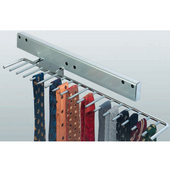 Chrome-Plated Pull-Out Tie Rack, Holds 17 Ties, 5-1/8'' W x 21-1/4'' D x 3-9/16'' H