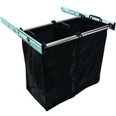 ''Synergy'' Collection 2-Bag Extendable Hamper, w/ 2 Small Bags, in Polished Chrome, 24'' W x 14'' D x 21-1/2''H
